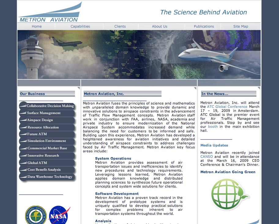 Metron Aviation Website Before