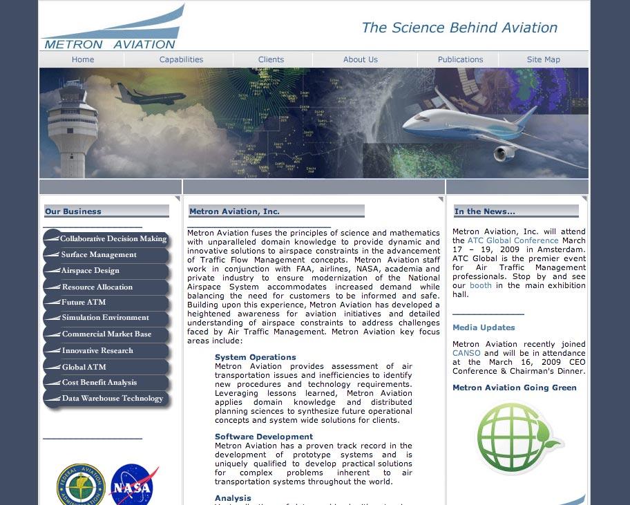 Metron Aviation Website Before