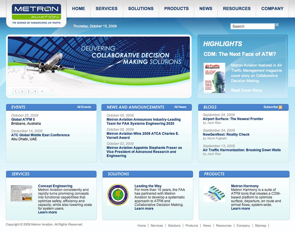 Metron Aviation Website After