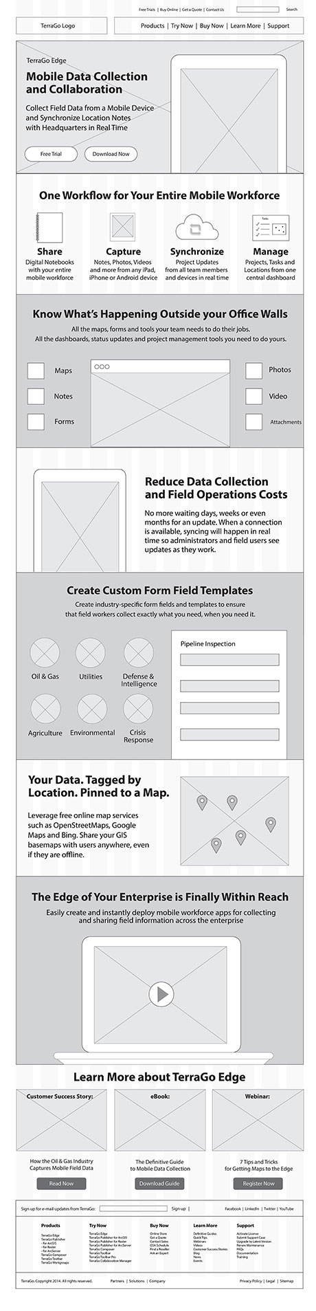 TerraGo Edge Product Page Wireframe
