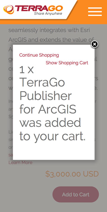 TerraGo Responsive Online Store Product Page