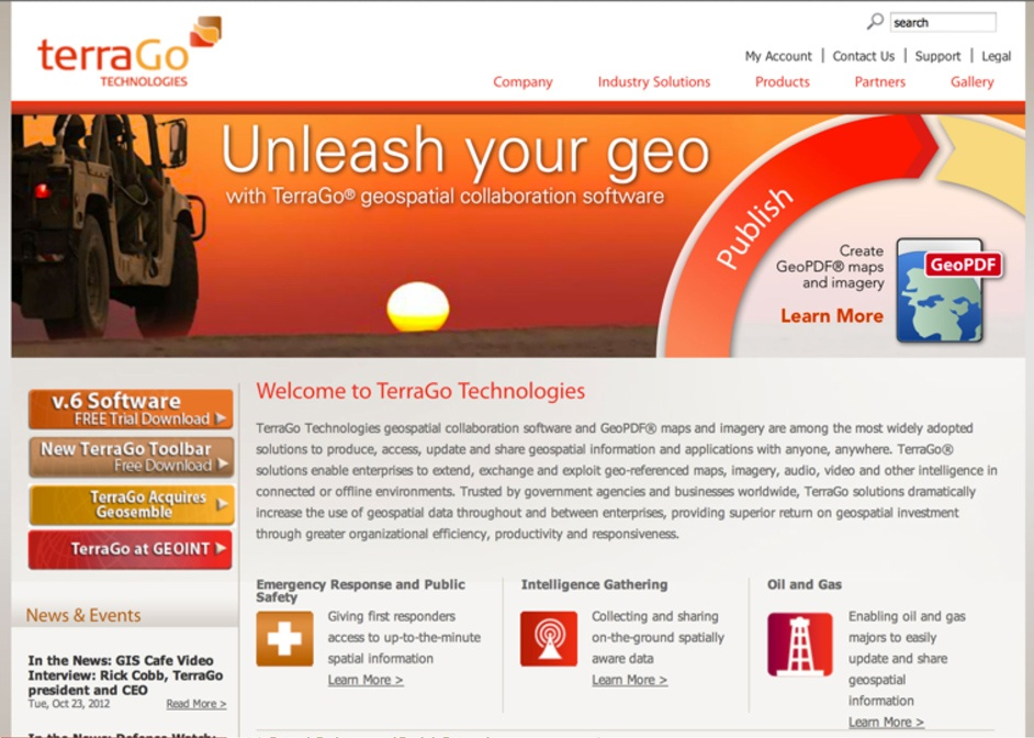 TerraGo Website Before